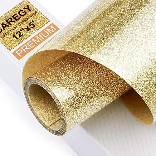 Glitter 12Inx5Ft Gold Heat Transfer Vinyl Roll(HTV) for DIY T-Shirt Clothing Garment Bags