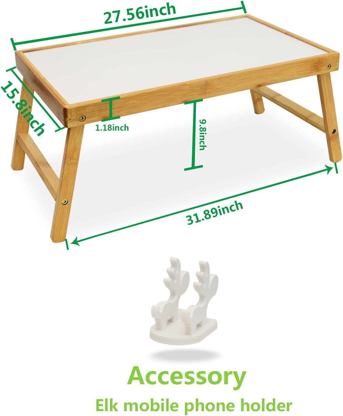 TORIBIO Bamboo Multifunctional Lap Desk Breakfast Serving Bed Tray with Foldable Legs(White)
