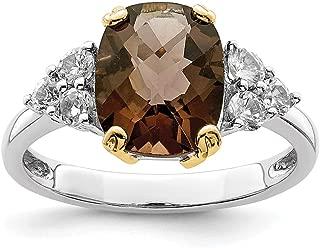925 Sterling Silver 14k Accent Smoky Quartz White Topaz Band Ring Stone Gemstone Fine Jewelry For Women Gift Set