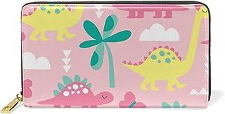 旅立の店 長財布 人気 レディース メンズ 大容量多機能 二つ折り ラウンドファスナー 本革  恐竜柄 ピンク イエロー ウォレット