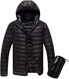 jin&Co Men's Down Jacket with Hood Ultra-Light Full Zip Winter Warm Carrying Case Quilted Jacket Outwear