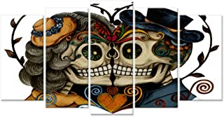 iHAPPYWALL Large 5 Pieces Canvas Wall Art Vintage Skull Head Couple Love with Flower in Eyes Colorful Human Skeleton Tattoo Artwork The Pictures Print On Canvas for Bedroom Home Decor Ready to Hang