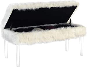 """Ore international 20"""" In White Beverly Faux Fur Storage Bench W/Acrylic Ghost Legs"""