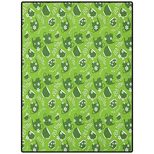 """Tea Party Rectangle Rugs Best Long Carpet for Bedroom Floor Tea Time Theme with Teapots and Cups Blooming Daisy Chamomiles Dark Green Lime Green White 21"""" x 59"""""""