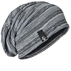 [FORBUSITE]ニット帽 サマーニット帽 大きいサイズ 帽子 おきいサイズ メンズ キャップ ワッチキャップ ビーニー 通気性 蒸れにくい ストレッチ アクリル 薄手 オールシーズン 編みニット ボーダーB803 (ライトグレー)
