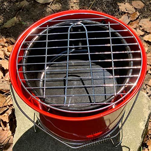 61ds4K6CR5L. SL500  - Grills Kochplatten Barbecue verdickte Garten Holzkohle-Rack Runde Barrel Herd Aussen tragbare Mini- Grillzubehör (Color : Red)
