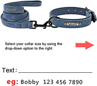 Custom Dog Collars Leather Personalized Pet Dog Tag Collar Leash Lead for Small Medium Large Dogs