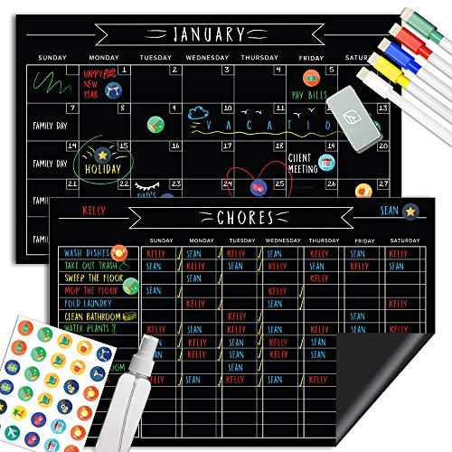 "Magnetic Chalkboard Reward Chore Chart – Black Dry Erase Refrigerator Responsibility Incentive Chart - Multiple Kid Chart System w/Bonus Reusable Monthly Calendar - 11"" x 17"""