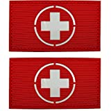 Glow in Dark Medic Cross First Aid Patches, EMS EMT MED Medical Rescue Tactica Military Morale Combat Armband Badges with Hook and Loop Fastener Backing, 3.54 x 1.97 Inch, 2 Pieces