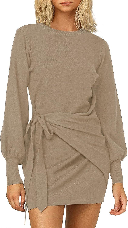 Women's Elegant Long Lantern Sleeve Mini Dress Crewneck Tie Waist Knit Cocktail Dress