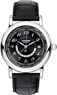 Star World Time Black Dial Black Leather Mens Watch 109285