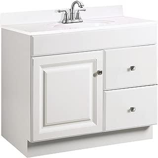 Design House 531954 Wyndham Ready-To-Assemble 1 Door/2 Drawer Vanity, White, 36