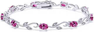 925 Sterling Silver 4.63 Ct Oval Pink Created Sapphire Greek Vine 7 Inch Diamond Tennis Bracelet