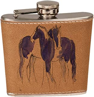 6 oz. Leather Flask Set in Black Presentation Box - Piebald Gypsy Cobs in Purple and Blue Abstract Horse Art by Denise Every
