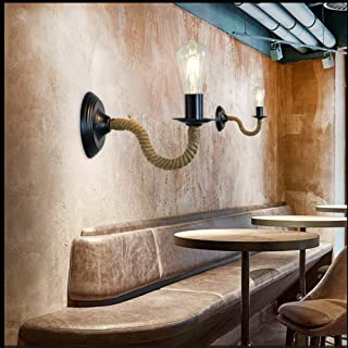 Elegent Single 4W Rope Iron LED Wall Lamp American Country Retro Dining Room Bar Coffee Shop Staircase Living Room Industrial Simple Light Cozy