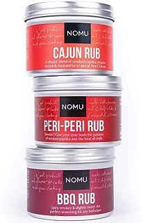 NOMU Rub Spicy Trio Set - BBQ, Peri-Peri & Cajun Seasonings (3-pack) - Premium Blends of Herbs & Spices - No MSG or Preservatives