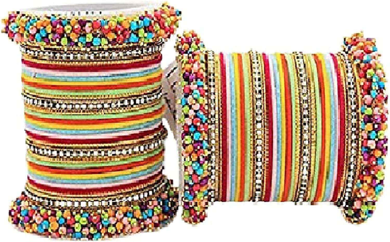 Multicolor Silk Thread Plain Bangles Set for Women/Girls (Size:-2.14)