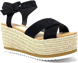 a388a2c11852b9 Angkorly - Scarpe Moda Sandali Espadrillas Grande Zeppe Spiaggia Boemia  Donna Cinghie Incrociate con Paglia Intrecciato