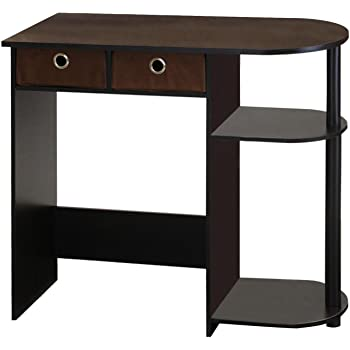 Furinno Go Green Home Laptop Notebook Computer Desk/Table, With 2 Bin Drawers, Espresso/Black/Brown
