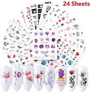 Nail Decals,Nail Stickers for Women Nail Tattoos Water Transfer Nail Art Stickers 24 Sheets Nail Stencils Decorations Accessories Rose Flower Stickers Set DIY Fingernail Decor Nail Art Supplies