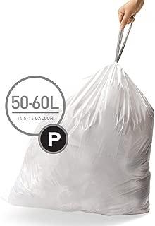 simplehuman Code P Custom Fit Drawstring Trash Bags, 50-60 Liter / 13-16 Gallon, 3 Refill Packs (60 Count)