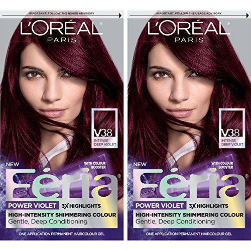 L'Oreal Paris Feria Multi-Faceted Shimmering Permanent Hair Color, V38 Violet Noir, Pack of 2, Hair Dye