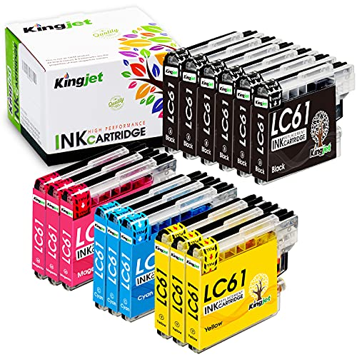 Kingjet Compatible Ink Cartridge Replacement for Brother LC61 LC 61...