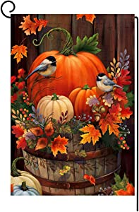 BLKWHT Fall Thanksgiving Pumpkin Garden Flag Vertical Double Sided Autumn Watercolor Bird Burlap Yard Outdoor Decor 12x18 Inches BW044