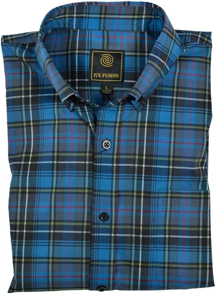 Super special price F X Fusion Long Sleeve Aqua Shirt Stretch Sport Plaid Multi Max 57% OFF