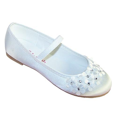 71792e018de Girls White Satin Ballerina Shoes Ideal for Weddings and Communions