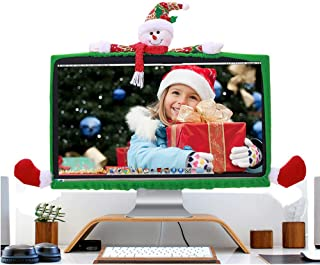DotPet Christmas Computer Monitor Cover, Laptop Display Dustproof Cover Decorative Monitor Screen Protector for Computer Min TV Xmas Year Home Office Decor (Snowman)