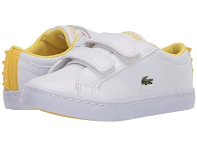 Lacoste Kids Straightset 120 1 CUI (Toddler/Little Kid) (White/Yellow) Kid
