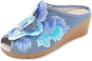 Inlefen Female Embroidered Floral Open Toe Sandals Classic Solid Color Slippers