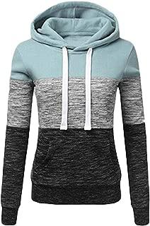 Macondoo Womens Hoodies Contrast Color Pullover Long-Sleeve Top Sweatshirts