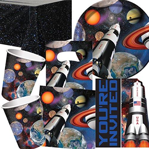 101-teiliges * SPACE BLAST / WELTRAUM * PARTY SET für Kindergeburtstag mit 8 Kinder: Teller, Becher, Servietten, Einladungen, Partytüten, Tischdecke, Luftschlangen, Luftballons, u.v.m. // Mottoparty All Apollo Alien Rakete