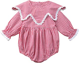 Weixinbuy Toddler Baby Girls Long Sleeve Plaid Romper One Piece Overall Bodysuit Jumpsuit Clothes 0-24 Months