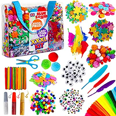 Blue Squid Arts and Crafts Supplies Kit XXXL Craft Set for Kids - 1500+ Pcs Art Supply with Easy Storage Case - Toddler & Kid Education Supplies & Craft Supplies for School & Home - Ages 4 5 6 7 8 9 from Blue Squid
