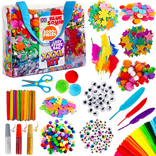 Blue Squid Arts and Crafts Supplies Kit XXXL Craft Set for Kids - Art Supply With Easy Storage Case - Toddler & Kid Education Supplies & Craft Supplies For School & Home - Ages 4 5 6 7 8 9