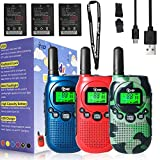TIDRADIO TD-M3 Walkie Talkies for Kids 22 Channel USB Rechargeable Kids Walkie Talkies 2 Way Radio Toy Best Gifts for Boys and Girls to Outside 3 Pack