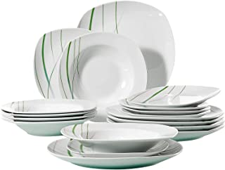 comprar comparacion VEWEET Aviva Juegos de Vajillas 18 Piezas de Porcelana con 6 Platos, 6 Platos Hondos y 6 Platos de Postre para 6 Personas
