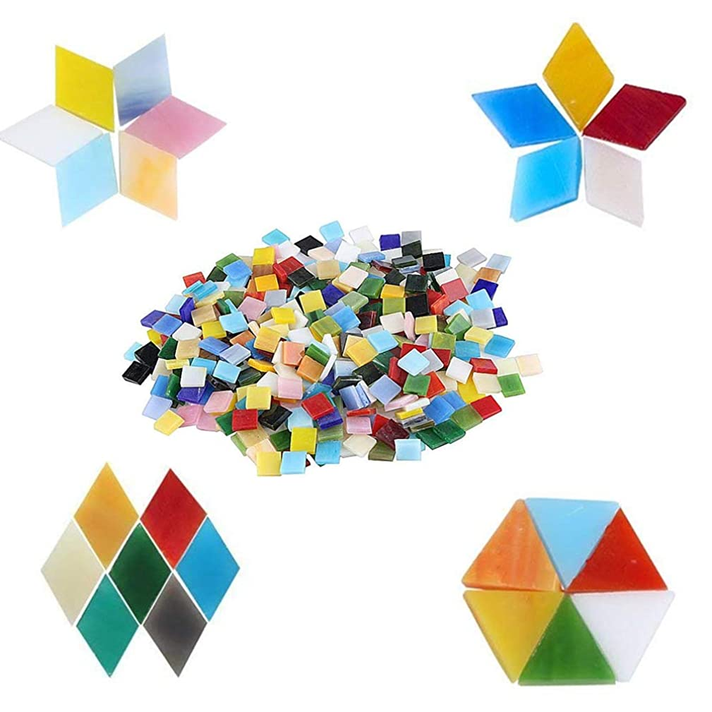 YEZZ 620 PCS Mosaic Supply 15 Colors Assorted,Mixed Color Mosaic Glass Pieces with Organizing Container for Home Decoration or DIY Crafts, Square×290,Rhombus×220,Triangle×110,