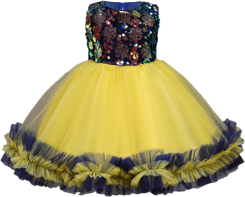 USEACCE Glitter Christmas Fancy Flower Girl Dress Little Girl Christmas Puffy Tulle Sequin Dress for 2-10 Years