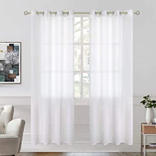 BGment Semi Sheer Curtains for Bedroom, Grommet Semi-Transparent Light Filtering Privacy Curtains for Living Room, 2 Panels (Each 52 x 84 Inch, White)