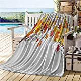 ERshuo Fall Decorations Throw Blanket For Couch,Image of Canadian Maple Leaves In Fall with Soft Reflection Effects,Summer Blanket Orange White 70'x90' 60x80IN
