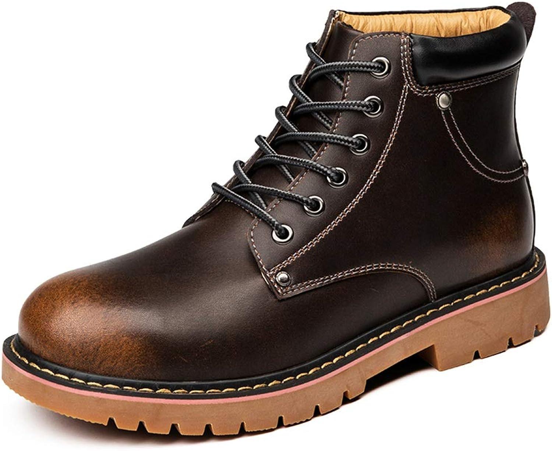 Shuo lan hu wai Herrenmode Stiefel Lässig PU Leder Outdoor Outdoor Outdoor Outdoor Laufsohle Freizeitstiefel,Grille Schuhe (Farbe   Dunkelbraun, Größe   40 EU)  675160