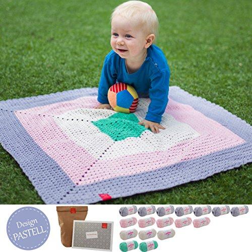 MyOma Babydecke häkeln Anfänger - Häkelset Baby Decke Kleiner Liebling Design Pastell - Baby DIY mit 17 Knäuel Baumwolle + Häkelanleitung Baby – Baby häkeln Set – DIY Set Baby – Babydecke häkeln Set