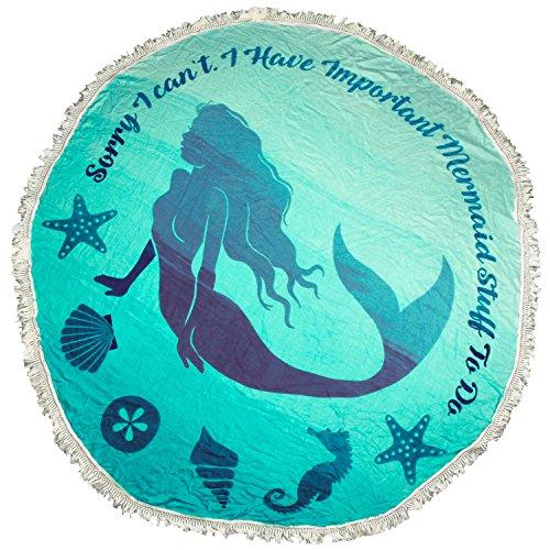 MIK Funshopping strandlaken sprei zeemeermin turquoise Ø 155cm