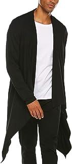 COOFANDY Men's Ruffle Shawl Collar Cardigan Sleeveless Open Front Vest Lightweight Cotton Long Length Drape Cape