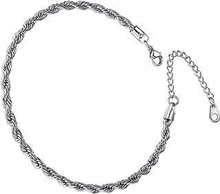 Cavigliera in acciaio inox con catena a corda, regalo per San Valentino, compleanno