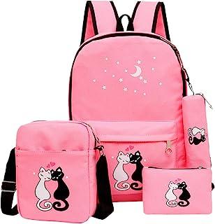 Fanci 4Pcs Cute Cat Prints Canvas School Rucksack Backpack Set for Girls Elementary Bookbag M Pink unknown